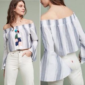 Blue and White Striped Off the Shoulder Pom Top